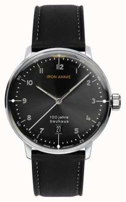 Junkers Iron annie | bauhaus | zwarte wijzerplaat | zwarte leren riem 5046-2