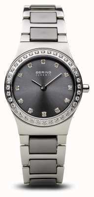 Bering | dames keramisch gepolijst zilver | kristallen set | grijze wijzerplaat | 32426-703