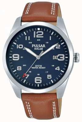 Pulsar | heren bruine lederen band | blauwe wijzerplaat | PX3189X1