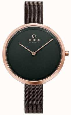 Obaku | womens dok walnut | bruine mesh armband | bruine wijzerplaat | V227LXVNMN