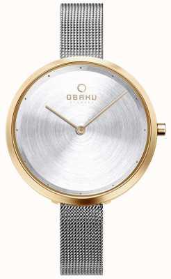 Obaku | womens dok gold bi | zilver gaas | gouden kast | zilveren wijzerplaat V227LXGIMC