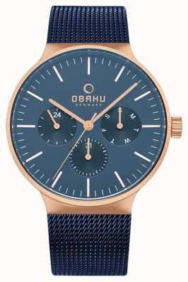 Obaku | mens mos oceaan blauw gaas | blauwe chronograaf wijzerplaat | V229GMVLML