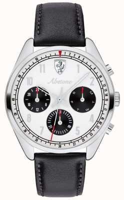 Scuderia Ferrari Zwarte lederen wijzerplaat heren abetone zwart lederen band 0830569