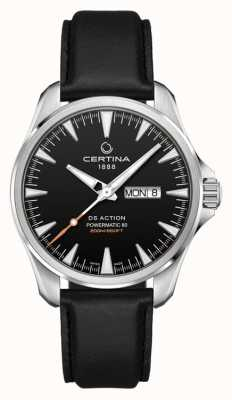 Certina ​ds action day-date powermatic 80 | zwarte leren band | C0324301605100