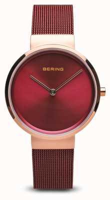 Bering Dames | klassiek | rode pvd vergulde stalen gaas armband 14531-363