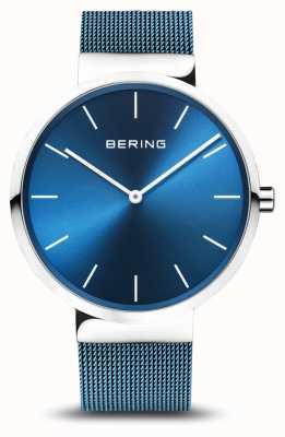 Bering Heren | klassiek | blauwe pvd vergulde stalen gaas armband 16540-308