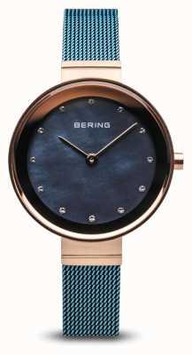 Bering Dames | klassiek | blauwe pvd vergulde stalen gaas 10128-368
