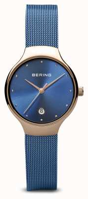 Bering Dames | klassiek | blauwe pvd vergulde blauwe mesh armband 13326-368