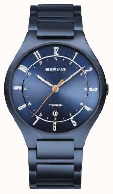 Bering Heren | titanium | blauwe wijzerplaat | blauwe armband 11739-797