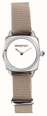 Briston | clubmaster dame | enkele taupe nato riem | witte wijzerplaat | 19924.S.M.2.NT - SINGLESTRAP