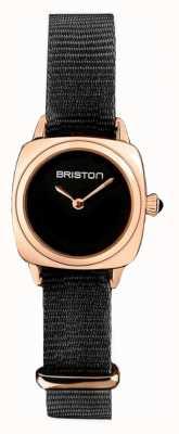 Briston | clubmaster dame | enkele zwarte nato | rosé goud pvd hoesje | 19924.SPRG.M.1.NB - SINGLESTRAP