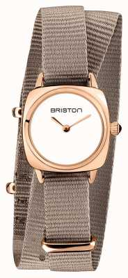 Briston | clubmaster dame | enkele taupe nato | rosé goud pvd hoesje | 19924.SPRG.M.2.NT
