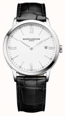 Baume & Mercier | heren classima | zwarte lederen band | witte wijzerplaat | M0A10323