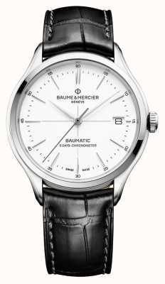 Baume & Mercier | heren clifton | baumatic | zwart leer | witte wijzerplaat | M0A10436