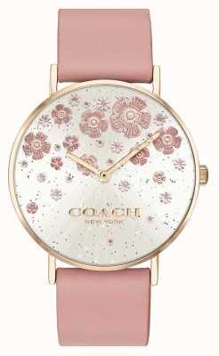 Coach | perenwijn | blush lederen band | bloemen glitter wijzerplaat | 14503325