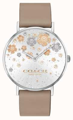Coach | perenwijn | lederen band van steen | bloemen glitter wijzerplaat | 14503326