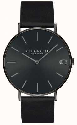 Coach | heren | Charles | zwarte lederen band | zwarte wijzerplaat | 14602434
