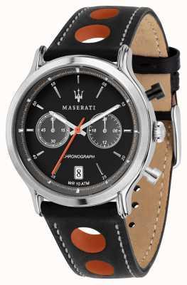 Maserati | epoca racing 42 mm | zwarte leren riem | zwarte wijzerplaat | R8851138003