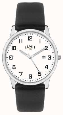 Limit | zwarte leren riem voor heren | zilver / witte wijzerplaat | 5741.01
