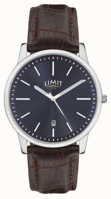 Limit | heren bruine lederen band | blauwe wijzerplaat | zilveren kast | 5745.01