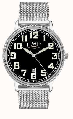 Limit | heren edelstalen mesh armband | zwarte wijzerplaat | 5748.01