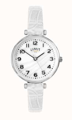 Limit | Witte lederen damesriem parelmoer wijzerplaat | 60061.01