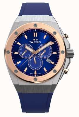 TW Steel | ceo tech | beperkte oplage | chronograaf | blauw rubber | CE4046