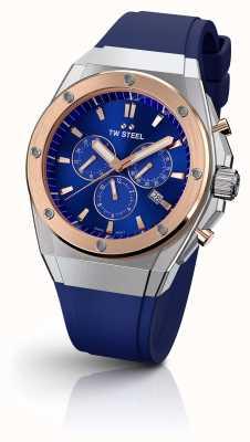 TW Steel | CEO tech | beperkte editie | chronograaf | blauw rubber | CE4046