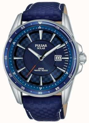 Pulsar | versnellingssporten blauwe leren riem | blauwe wijzerplaat | PX3205X1