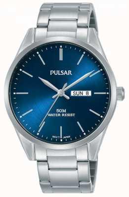 Pulsar | mensendag / -datum | roestvrijstalen armband | blauwe wijzerplaat | PJ6109X1