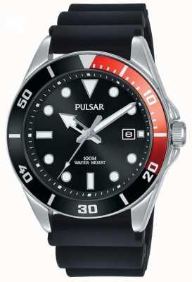 Pulsar | vrijetijdssport | zwarte rubberen riem | zwarte wijzerplaat | PG8297X1