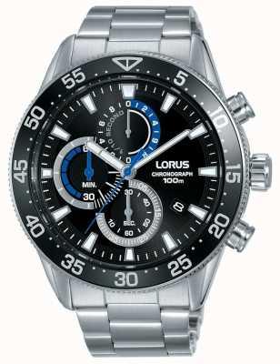 Lorus | heren chronograaf | zwarte wijzerplaat | roestvrijstalen armband | RM335FX9