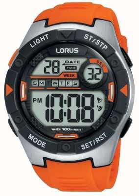 Lorus | heren sport digitaal | oranje rubberen riem | R2303NX9