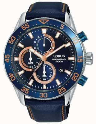 Lorus | heren chronograaf | blauwe rand blauw leer | blauwe wijzerplaat | RM341FX9