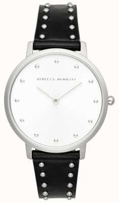 Rebecca Minkoff Dames major | zwart lederen stud armband | zilveren wijzerplaat | 2200307