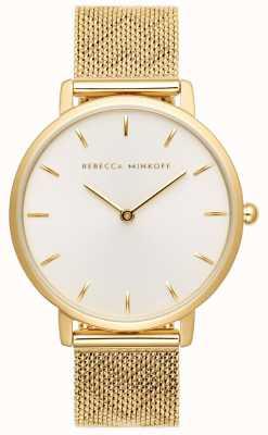 Rebecca Minkoff Dames major | vergulde mesh armband | zilverwitte wijzerplaat 2200298