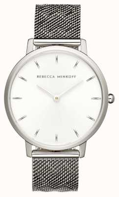 Rebecca Minkoff Dames major | roestvrijstalen mesh armband | zilveren wijzerplaat | 2200297