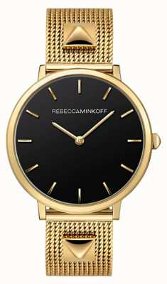 Rebecca Minkoff Dames major | vergulde armband van mesh | zwarte wijzerplaat | 2200002