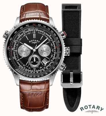 Rotary Piloten voor heren | chronograaf | zwarte wijzerplaat | bruine leren riem GS00100/04/KIT