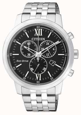 Citizen | heren eco-drive chronograaf | roestvrij staal | zwarte wijzerplaat AT2300-51E