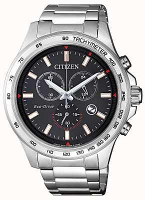 Citizen | mens eco-drive chronograaf | zwarte wijzerplaat | roestvrij staal AT2420-83E