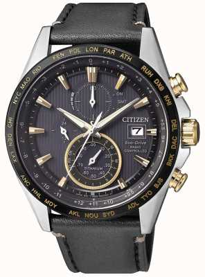 Citizen Radiogestuurde H800 voor heren bij World Chronograph Black & Gold IP Titanium AT8158-14H