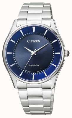 Citizen | mens eco-drive | roestvrijstalen armband | blauwe wijzerplaat | BJ6480-51L
