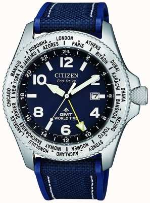 Citizen | heren eco-drive promaster gmt | blauwe wijzerplaat | blauwe band | BJ7100-15L