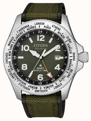 Citizen | heren | eco-drive promaster gmt | groen canvas | BJ7100-23X