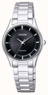 Citizen | eco-drive voor vrouwen roestvrijstalen armband | zwarte wijzerplaat | EM0401-59E