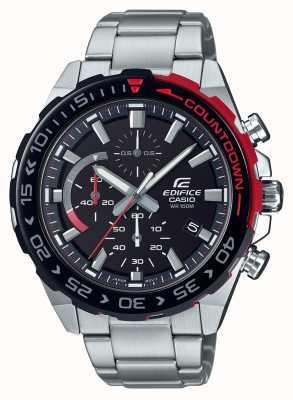 Casio | bouw chronograaf | roestvrij stalen armband | zwarte wijzerplaat EFR-566DB-1AVUEF