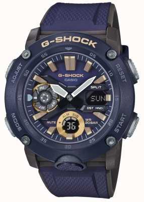Casio | g-shock koolstofkern wereldtijd | blauwe rubberen band | GA-2000-2AER