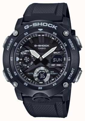 Casio | g-shock carbon kernbeschermer | zwarte rubberen riem | GA-2000S-1AER