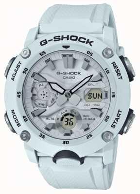 Casio   g-shock carbon kernbeschermer   witte rubberen riem   GA-2000S-7AER